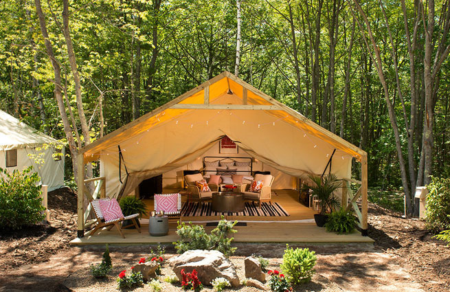 glamping in Maine at the Sandy Pines Campground