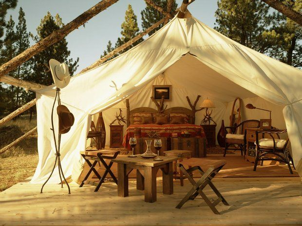 glamping in Montana at Paws Up Resort