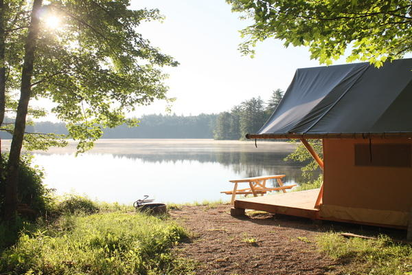 glamping in New Hampshire at Huttopia